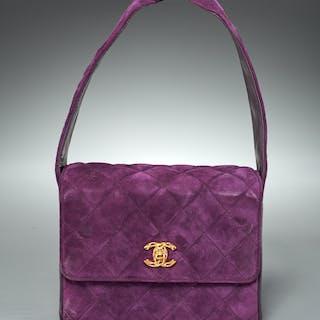Chanel purple suede quilted handbag