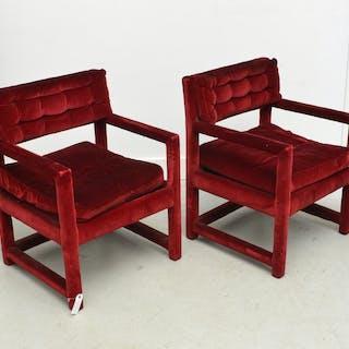 Pair Milo Baughman style arm chairs