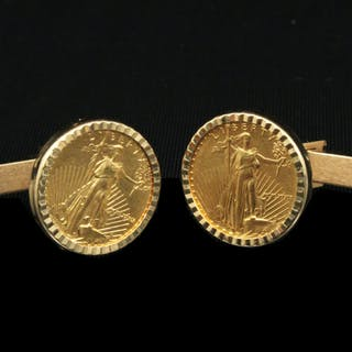 PR. OF LIBERTY PROOF COIN CUFF LINKS MTD IN 14K;  13.5 GR TW