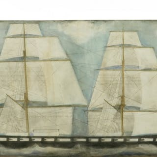 LARGE SAILOR PAINTED SHIP PORTRAIT ON SAILCLOTH