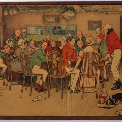 "CECIL ALDIN (BRITISH 1870-1935) ""THE CHRISTMAS DINNER AT THE INN"" LARGE PRINT"