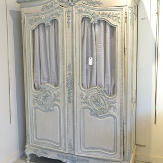 Provincial Louis XV style carved, painted armoire