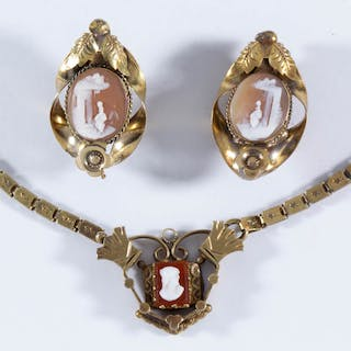 ANTIQUE VICTORIAN CAMEO GOLD-FILLED JEWELRY, LOT OF THREE