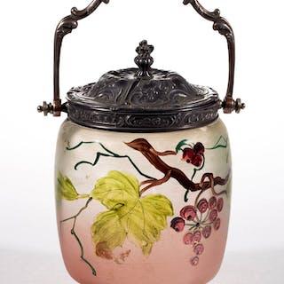 POLYCHROME-STAINED GLASS CRACKER JAR