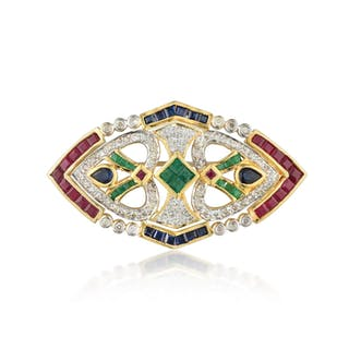 A Diamond and Multi-Colored Gemstone Pin/Pendant