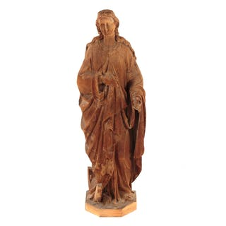 Gothic Style Wooden Figure of St. Katherine Alexandria