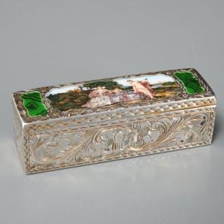 Italian 800 silver enameled lipstick case