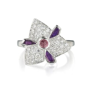Cartier Caresse D'Orchidee Amethyst and Diamond Ring