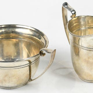 (lot of 2) Gorham sterling creamer #A90406 and open sugar with handles #A9409