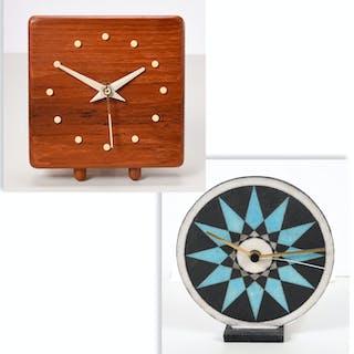 (2) George Nelson style modern bedside clocks