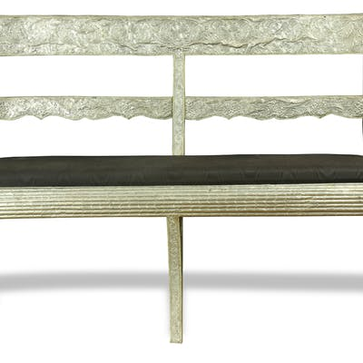 Anglo Indian silvered metal clad settee