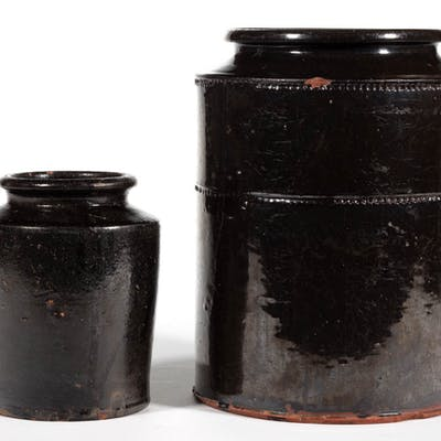 AMERICAN EARTHENWARE / REDWARE JARS, LOT OF TWO