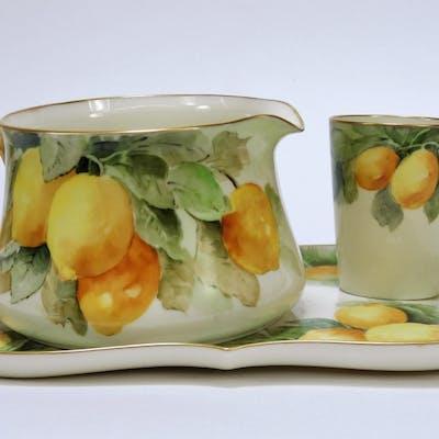 3PC American Belleek Porcelain Lemons Lemonade Set