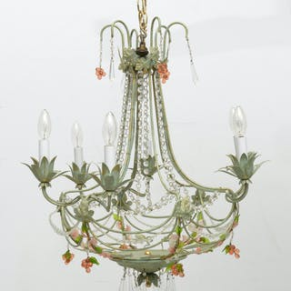 Designer painted tole chandelier
