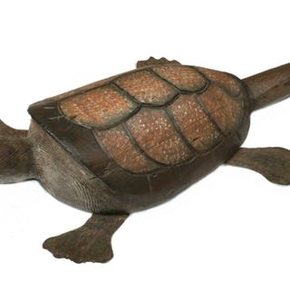 LARGE FOLK ART CARVED AND PAINTED TURTLE