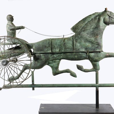 GOOD FLATTENED HOLLOW BODY COPPER HORSE & SULKY WEATHERVANE