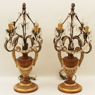 PR. OF ITALIAN GILTWOOD AND IRON CANDELABRA