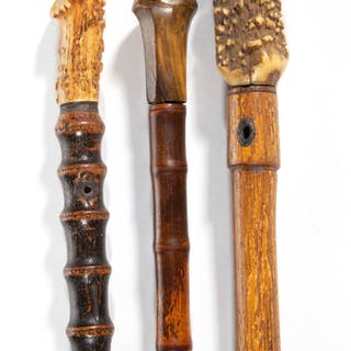 AMERICAN HORN-HANDLED CANES / WALKING STICKS, LOT OF THREE