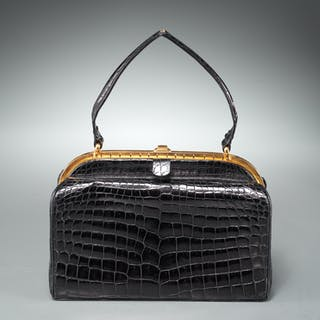 Vintage ladies black crocodile handbag