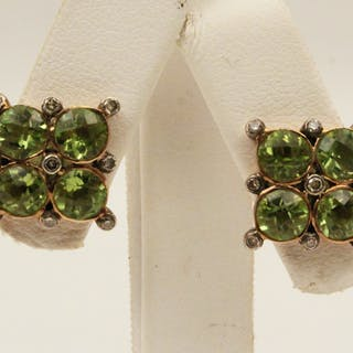 PR. OF 18K PERIDOT AND DIA. EARRINGS