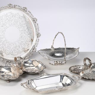 Nice group silver plate serving tray and dishes