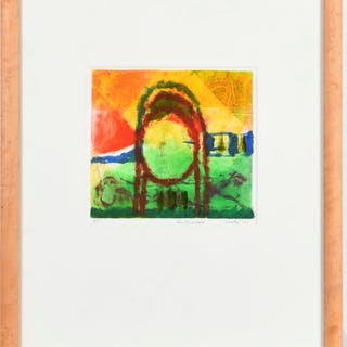 Howard Hodgkin (manner of), etching with color