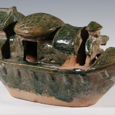CHINESE QING POTTERY MODEL BOAT