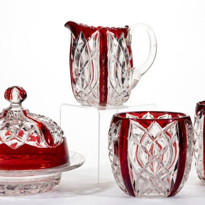 WIMPOLE - RUBY-STAINED FOUR-PIECE TABLE SET