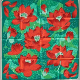 """Hermes Paris """"Fleurs de Lotus"""" scarf"""