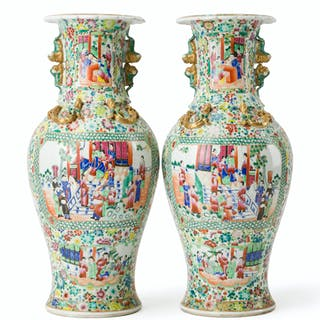 A pair of hand-painted Chinese floor vases