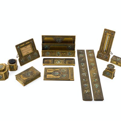 "A twelve-piece Tiffany Studios ""Abalone"" gilt-bronze desk suite"