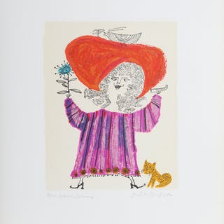 Judith Bledsoe, Petite Portrait - Big Red Hat, Lithograph and dedicated