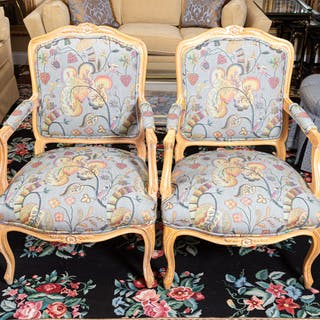Pair of Louis XV Style Pickled Wood Armchairs