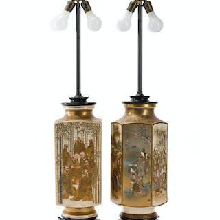 Two Japanese Satsuma lamps