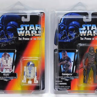 2PC Signed Kenner POTF2 Star Wars Chewbacca R2-D2