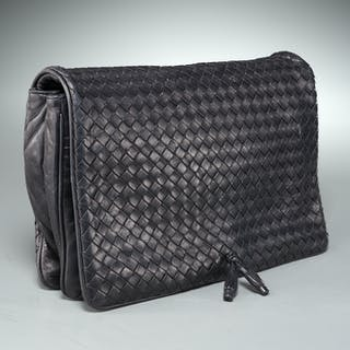 Bottega Veneta black woven leather clutch handbag
