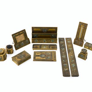 "A twelve-piece Tiffany Studios ""Abalone"" gilt-bronze desk suite"
