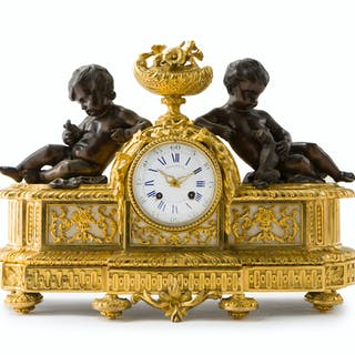 A French figural gilt-bronze clock