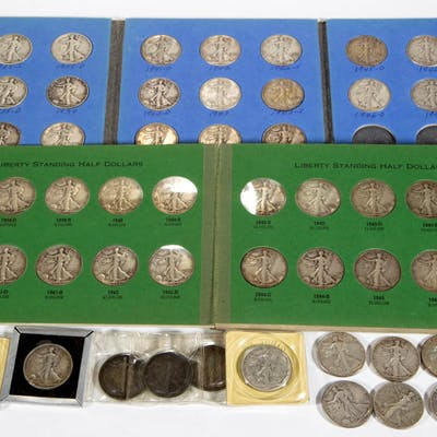 UNITED STATES SILVER WALKING LIBERTY HALF DOLLAR COINS, LOT OF 63