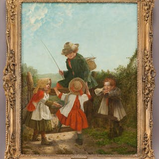 """Erskine Nicol """"The Young Rivals"""" oil on canvas"""