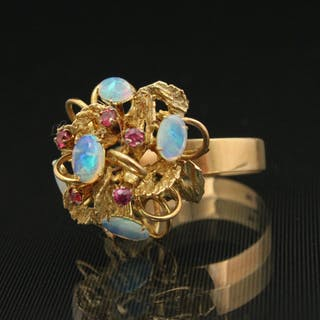 14K Y/G FIRE OPAL AND RUBY LADY'S RING;  6.2 GR TW