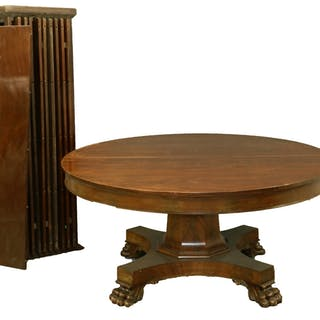 MAHOGANY BANQUET TABLE W/ TEN LEAVES