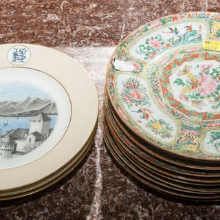 Ten Rose Canton and 3 Limoges Plates