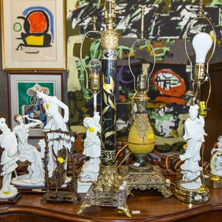 Five Table Lamps, 2 Armani Groups & a Bronze