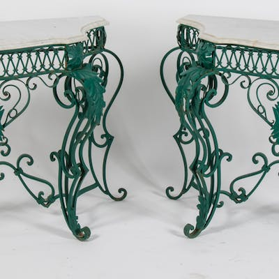 Painted, Wrought Metal Console Tables
