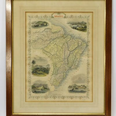 1851 J. Rapkin England Colored Map of Brazil