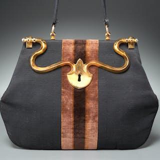 Roberta di Camerino black linen & velvet handbag