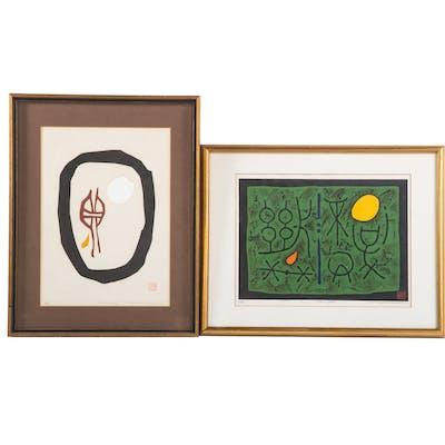 Maki Haku. Lot of Two Woodcuts
