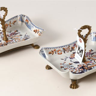 Pair Chinoiserie antique ironstone serving dishes