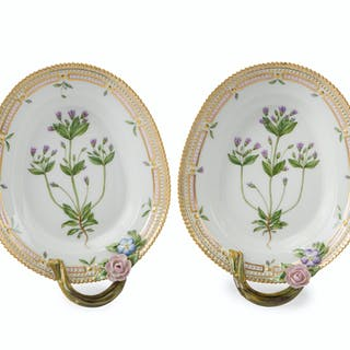 "A pair of Royal Copenhagen ""Flora Danica"" pickle/accent platters"